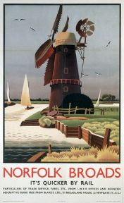 Norfolk Broads, Windmill. Vintage LNER Travel poster by Alison McKenzie. 1939